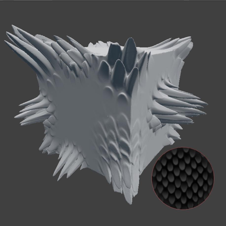 dragonscale-brush-for-blender-sculpting tested on cube