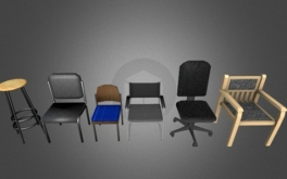 low poly chair set furniture for games on Sketchfab by DennisH2010