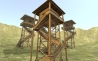 Low poly medieval wooden watchtower
