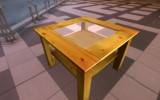 Low poly wooden table with glass pane on Sketchfab by DennisH2010