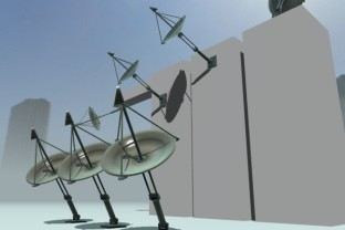 Satellite dishes in action on studio verold