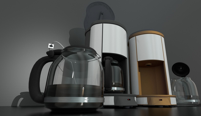 Coffee Machine Rigged Free 3D Model -  3ds  obj  blend  fbx  mtl