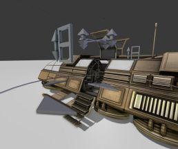 Futuristic Transport Shuttle Rigged
