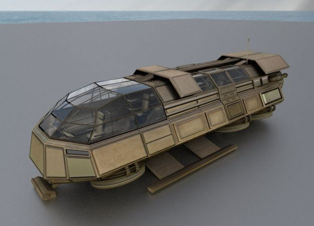 Futuristic Transport Shuttle Rigged