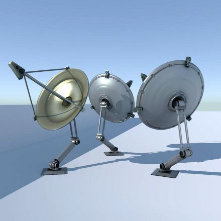 Satellite Dishes Rigged and Low-Poly