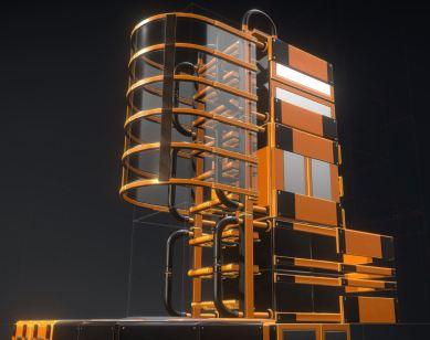 Modular Sci-Fi Ladders Orange Version (2)