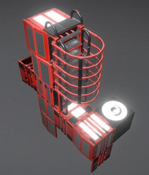 Modular Sci-Fi Ladders Red Version (32)