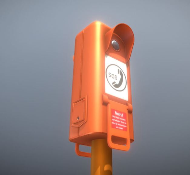 Emergency Call Box Notruf -High-Poly