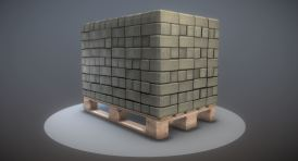 Wood Pallet with Paving Stones - Low-Poly