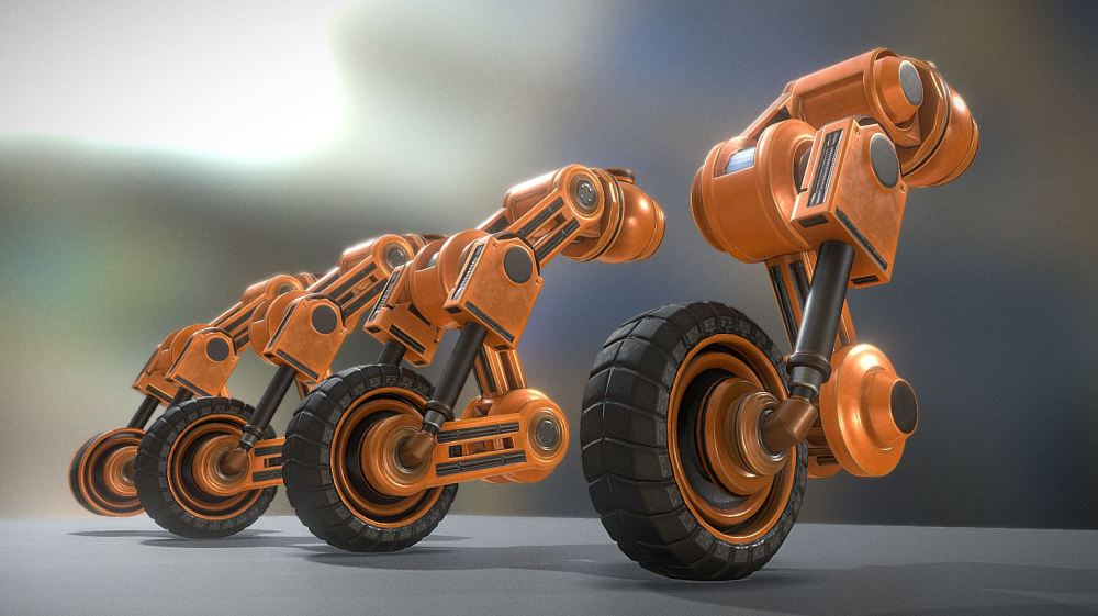 Hydraulic Suspension Orange Version - Buy Royalty Free 3D
