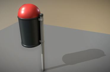 City Trash Can (Plastic-Red-Black) Low-Poly (2)