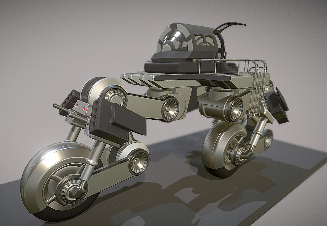 Futuristic Trike High-Poly Version 2
