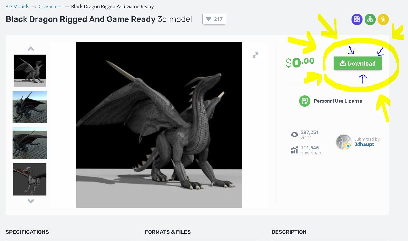 Black Dragon Rigged and Game Ready Free 3D Model -  stl  unity  3ds