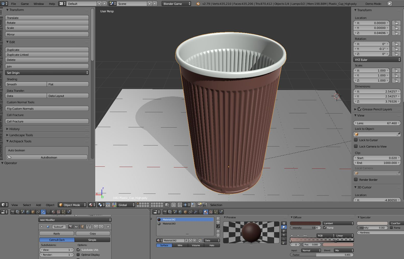 Plastic Cup (High-Poly Version)