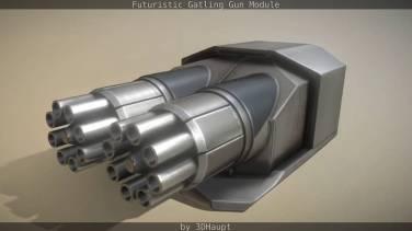 Futuristic Gatling Gun Module0012