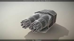 Futuristic Gatling Gun Module2412