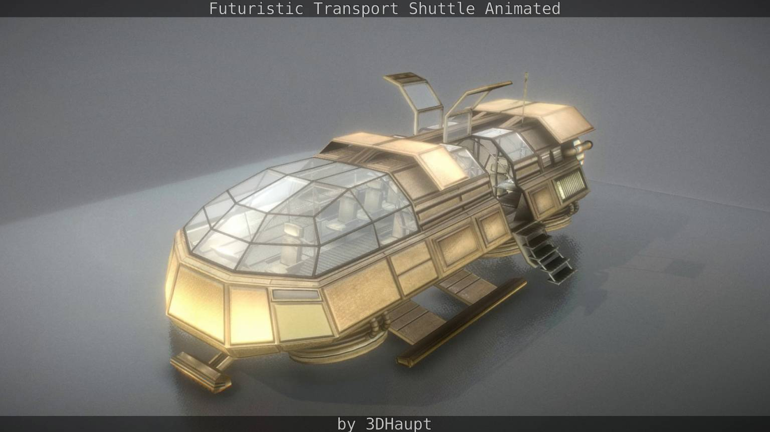 Futuristic Transport Shuttle Animated - Download Free 3D