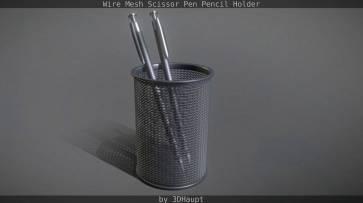 Wire Mesh Scissor Pen Pencil Holder0012