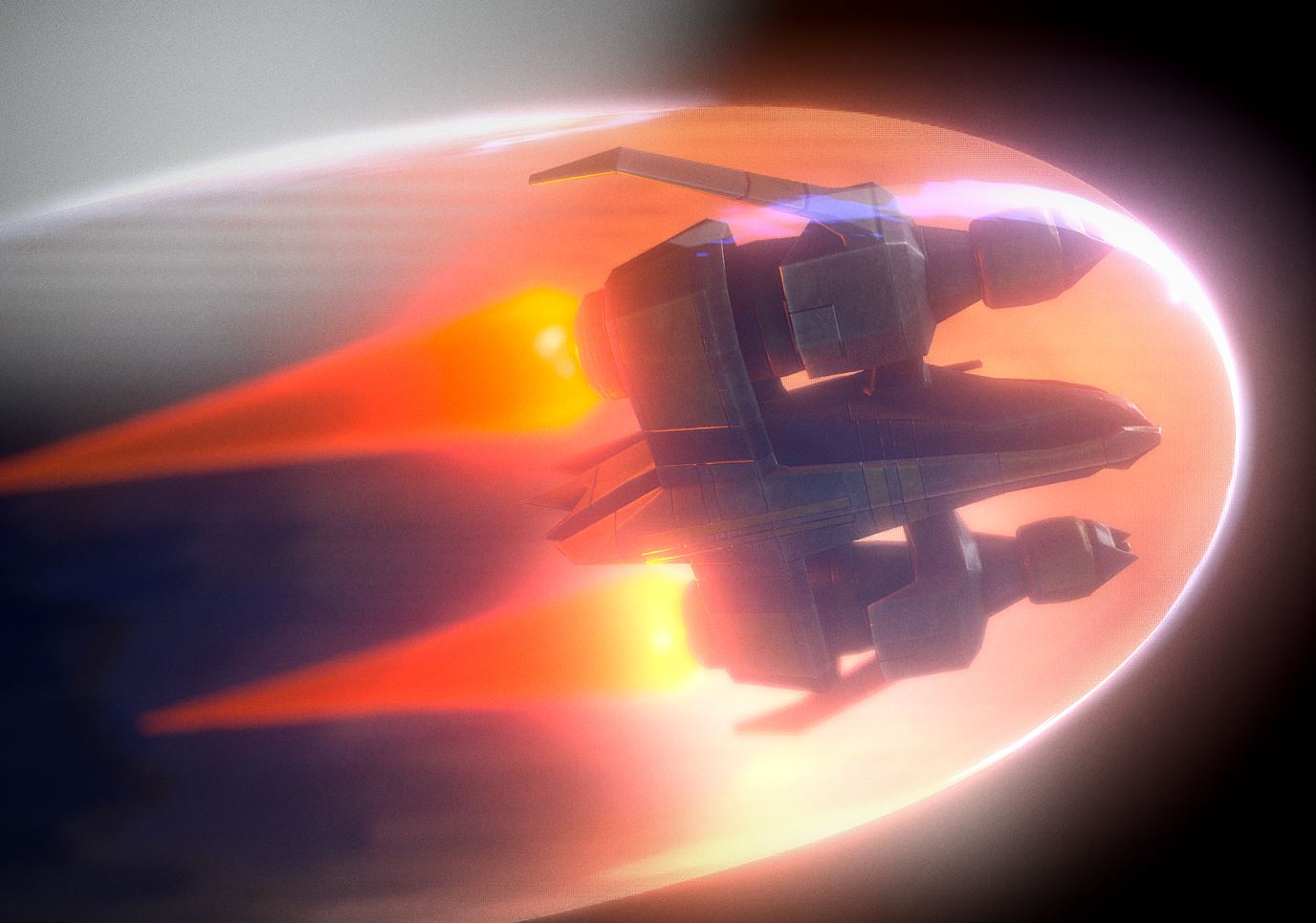 Star Fighter Spacecraft with Shield and Laser Animation