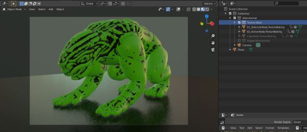 Texture-Bake-Alien-Animal-Update-in-Blender-2.81a
